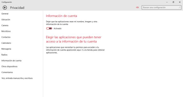 Las opciones de privacidad en Windows 10
