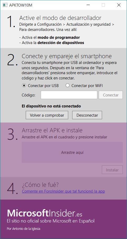 Captura del instalador de aplicaciones en español