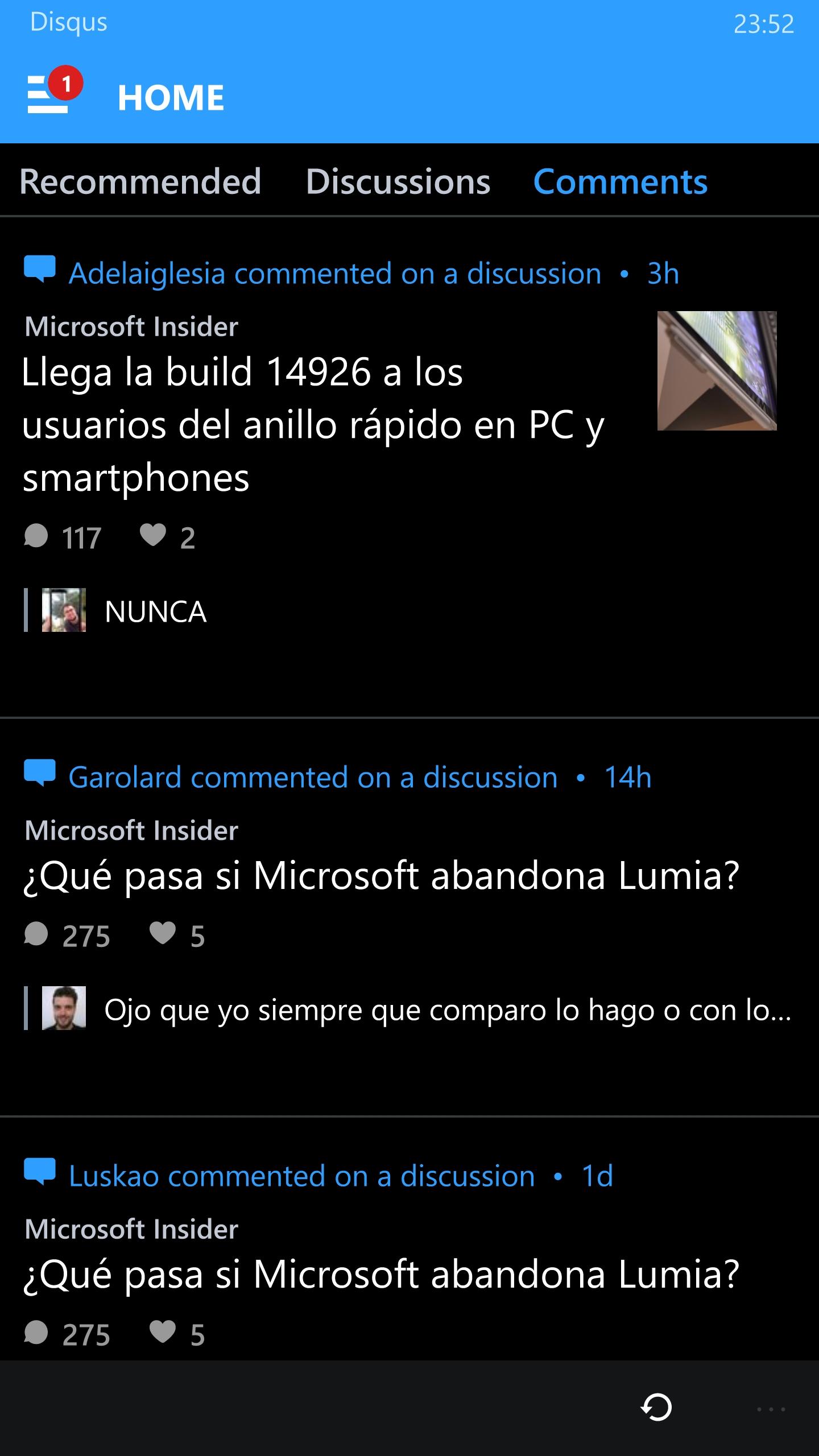 Disqus Beta en Windows 10 Mobile
