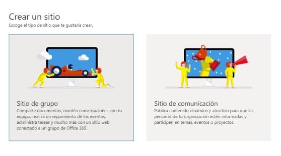 sitio de grupo y sitio de comunicación de SharePoint
