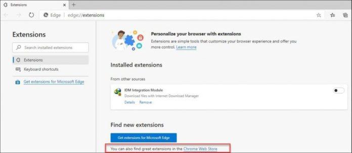 Microsoft redirige los Add-ons de Edge a Chrome Web Store