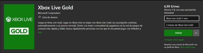 Desaparece la opción de suscripción de 12 meses de Xbox Live Gold