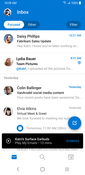Outlook para Android obtiene Play My Emails