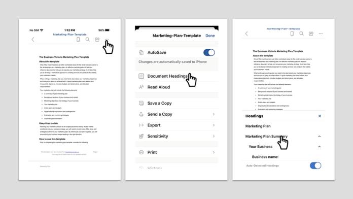 Llega la navegación de encabezado a Word para iOS y Android