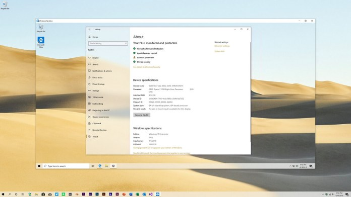 Sandbox de Windows 10 obtiene una actualización de rendimiento