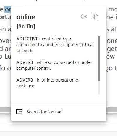 """Microsoft Edge obtiene un """"mini menú"""" con diccionario integrado y más"""