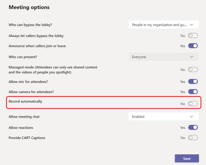 Microsoft Teams permitirá a los usuarios grabar automáticamente todas las reuniones a partir de julio