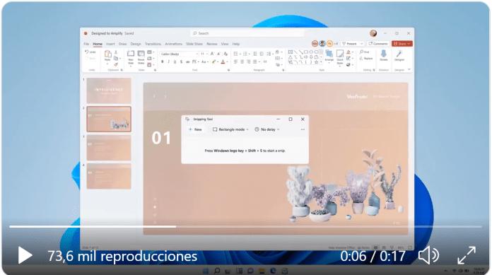 Panos Panay muestra la nueva herramienta de recorte de Windows 11