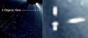 Tres enormes naves extraterrestres, no son asteroides, cometas o satélites, 12 de abril 2011