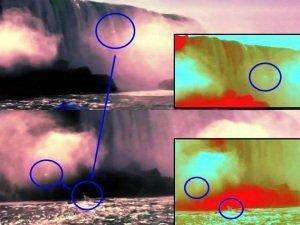 OVNI esférico desciende por las Cataratas del Niágara y sube de nuevo fuera del agua