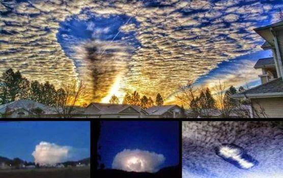 Extrañas nubes grabadas sobre el estado de Washington