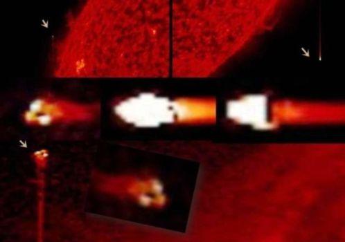 OVNIs triangulares y rectangulares cerca del Sol