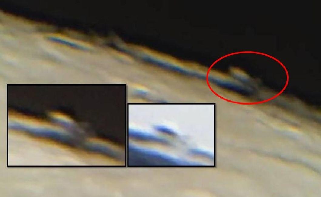 Estructura alienígena suspendida sobre la luna