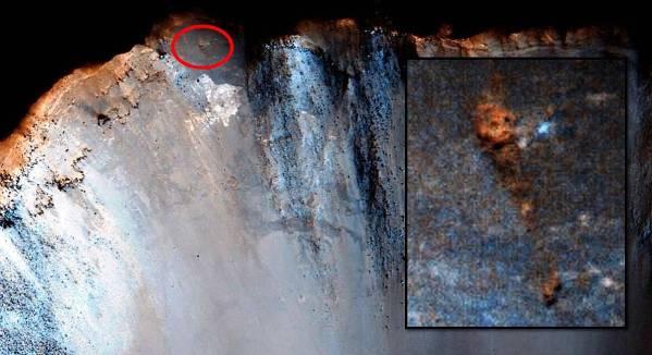 ¿Gigante esqueleto en un cráter en Marte?