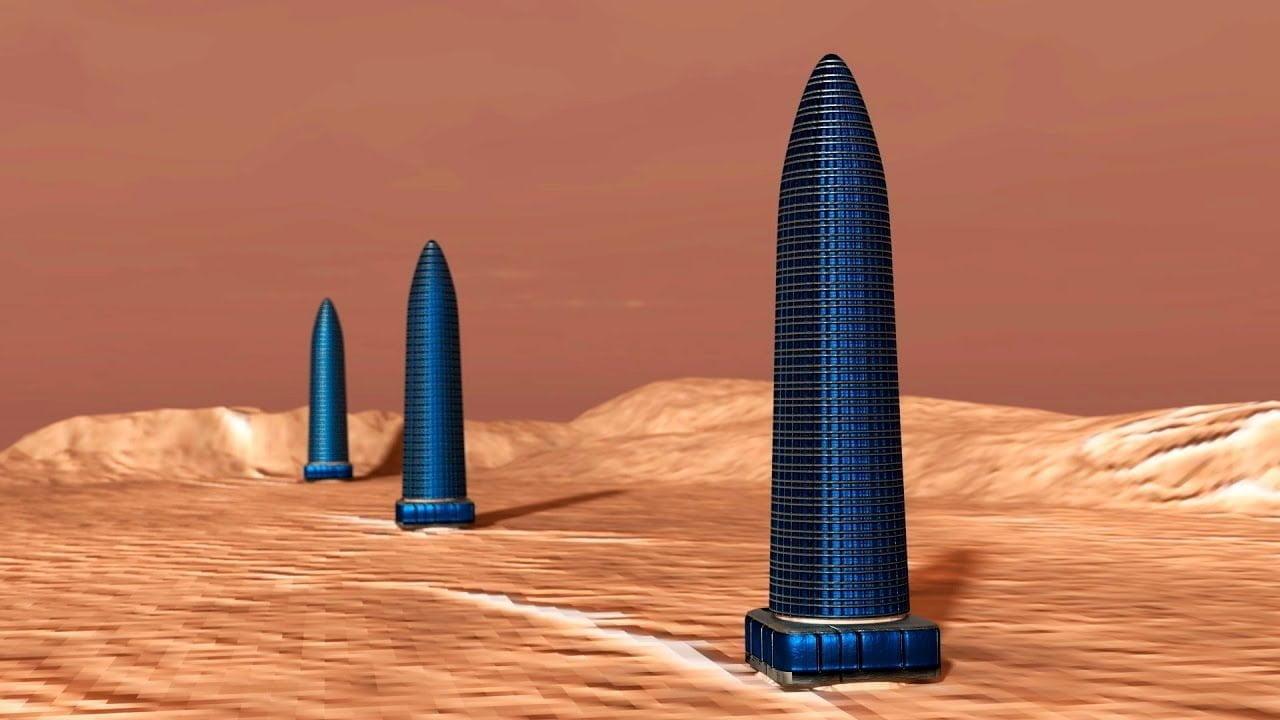 Tres Enormes Torres en Marte
