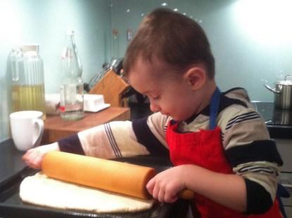 Fazendo pizza com as crianças