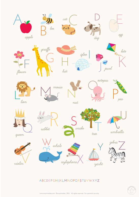 quadro quarto de bebe alfabeto