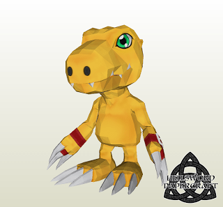 Digimon Agumon Papercraft - Savers Version