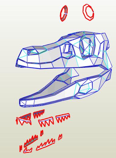 Cráneo Velociraptor papercraft