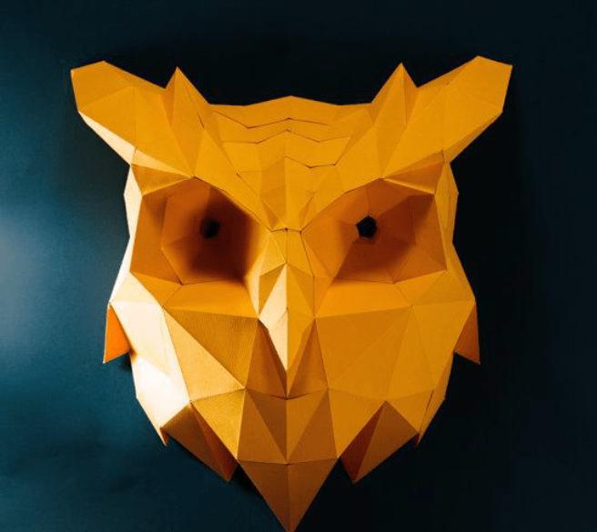 Búho Pared papercraft