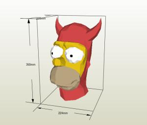 Mascara Homero Simpson papercraft