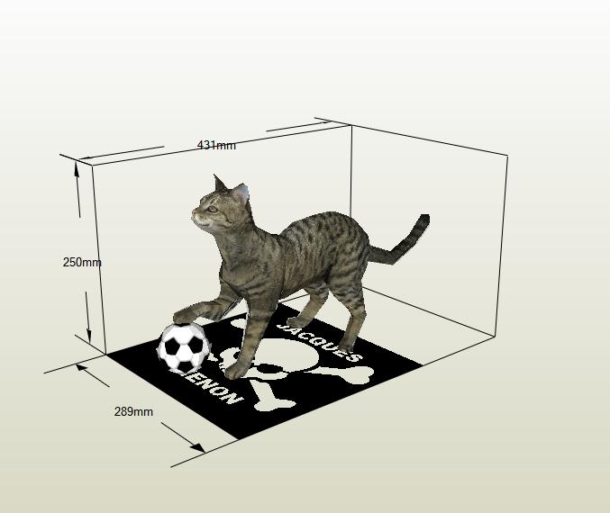 Gato con pelota papercraft
