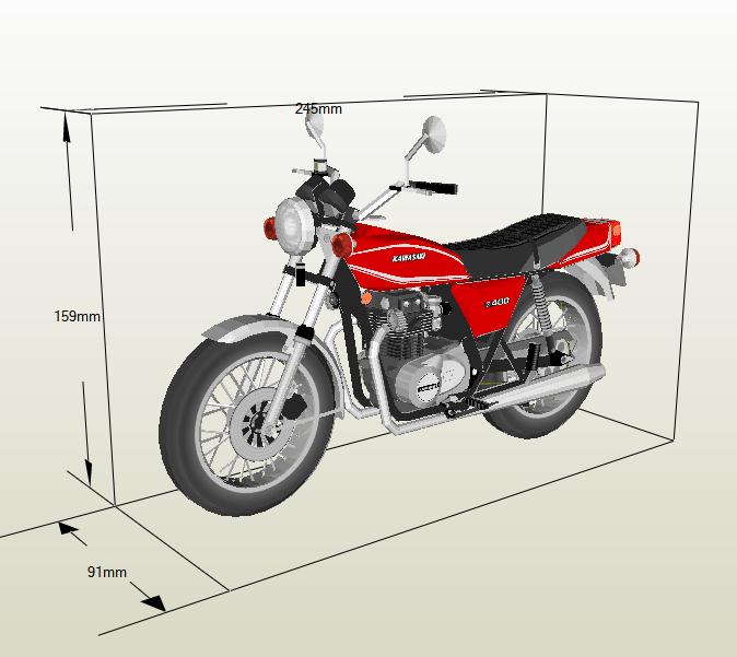 Moto Kawasaki papercraft