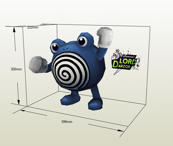 Poliwhirl papercraft