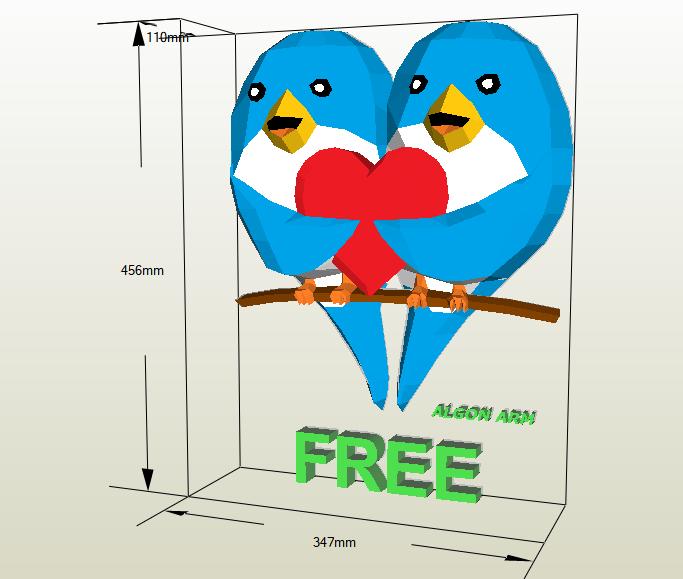 Aves enamoradas papercraft