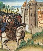 Éste es un manuscrito flamenco de finales del siglo XV. La representación popular de Camelot es la de un castillo de cuentos de hadas, con pináculos y ondeantes oriflamas.