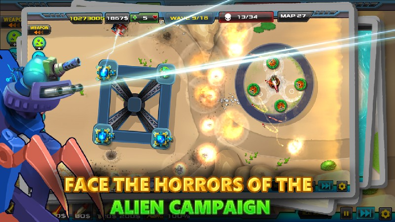 Tower Defense Alien War TD 2 APK MOD imagen 4