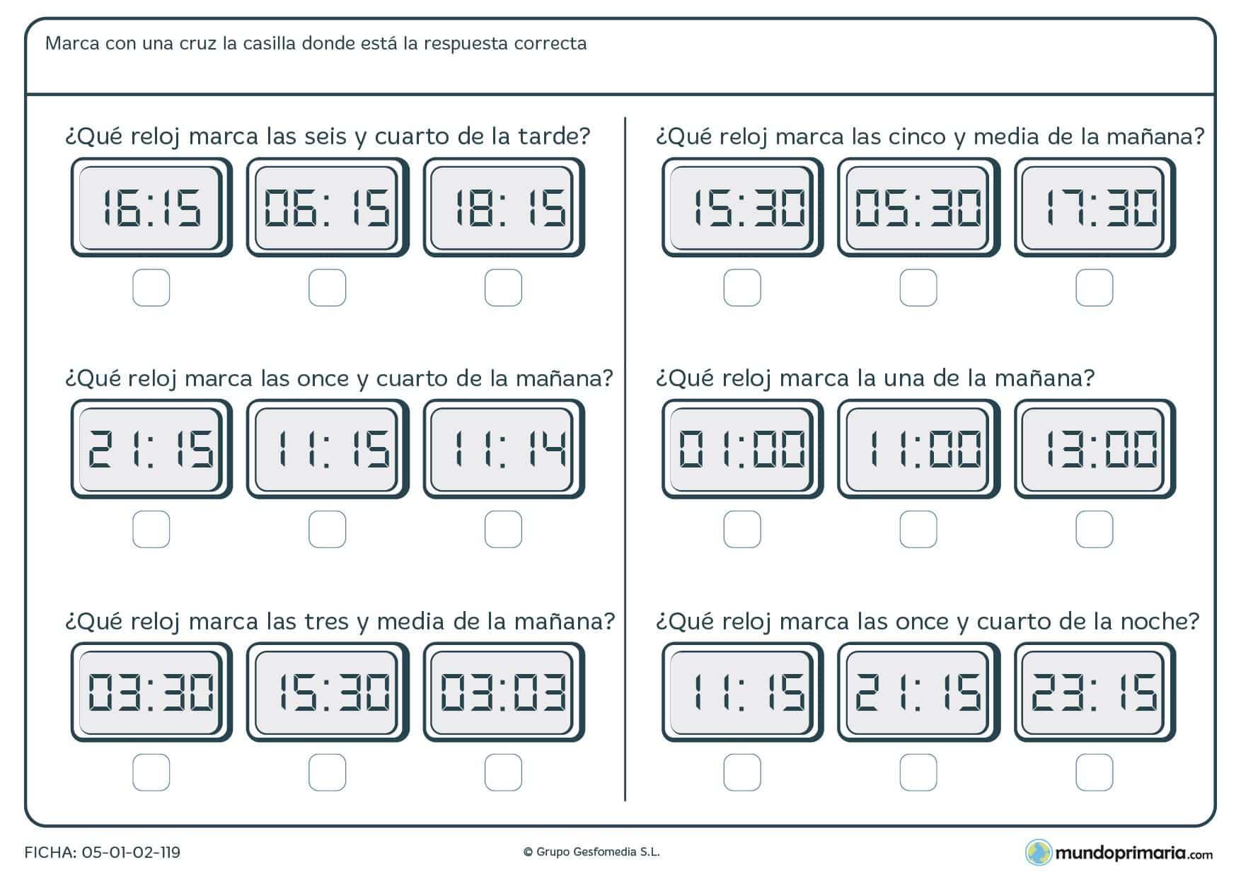 Ficha De Lectura De Horas Para Primaria