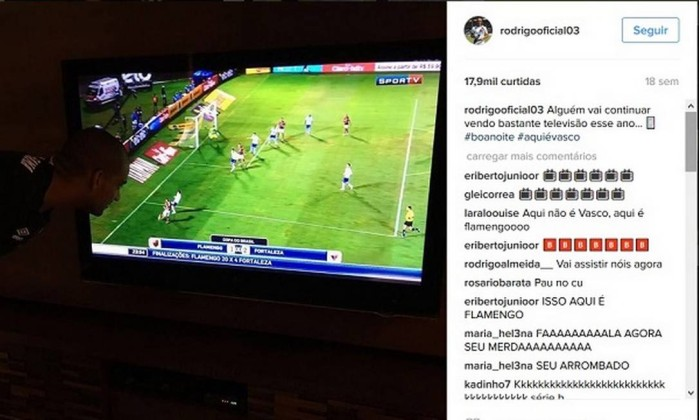 Rodrigo brinca diante da eliminação do Fla na Copa do Brasil: brincadeira sadia sim. Foto: Reprodução