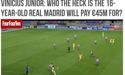 """FourFourTwo vê Vinicius Júnior como """"all-in"""" do Real Madrid"""