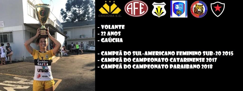 A volante gaúcha Carol Matos, de 22 anos, é o primeiro reforço para o Futebol Feminino do Flamengo em 2019.