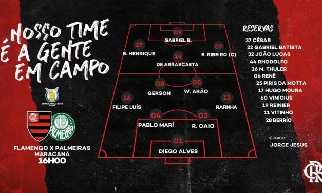 Flamengo escalado para encarar o Palmeiras