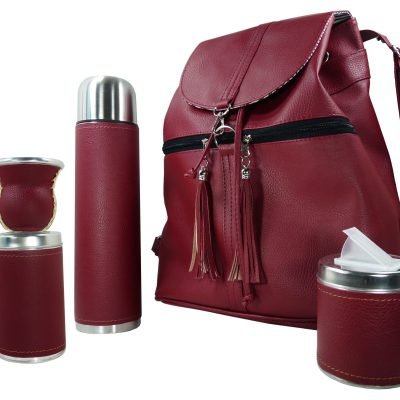 Set matero mochila color bordo Aylen
