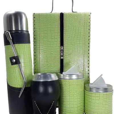 Set matero premium croco verde manzana con mate torpedo colección MELU