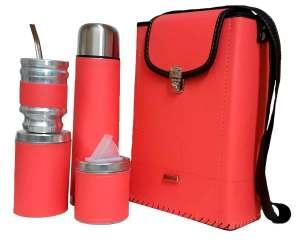 Set matero con mochila de eco-cuero rosa fluor