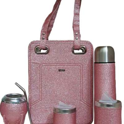 Set matero con cartera rosado gliter