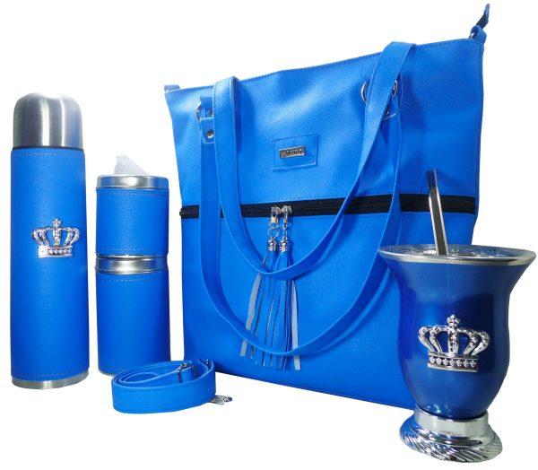 Set de mate con cartera azul y mate de calabaza con corona colección Aylen