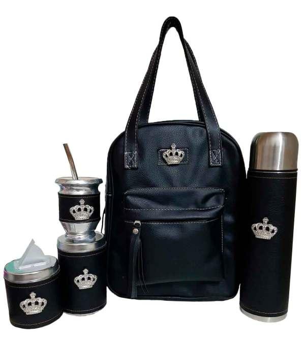 Set matero color negro con coronas colección Luli