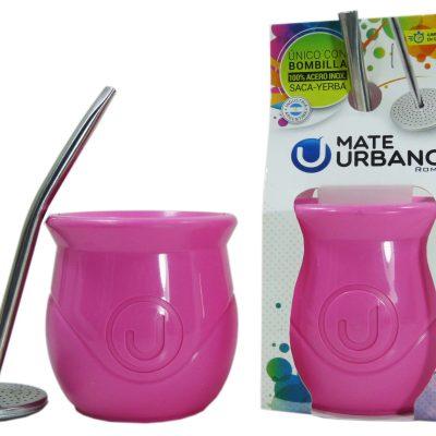 Mate urbano rosado con bombilla