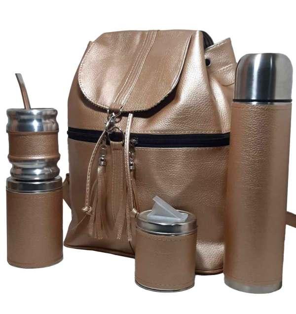 Combos materos por mayor con mochila color dorado