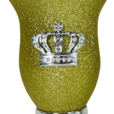 Mate calabaza color amarillo glitter con corona por mayor
