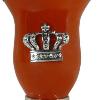 Mate calabaza color naranja con corona por mayor