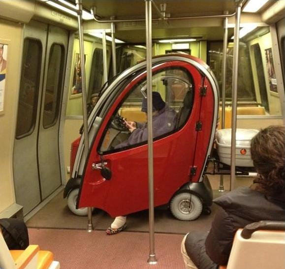 tiny car in train