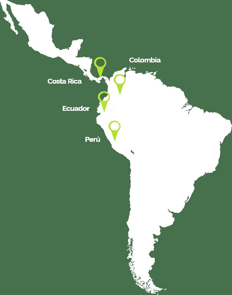 Mapa de latinoamérica donde Munkys tiene clientes