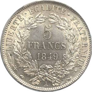 Pièce de 5 Francs de Cérès en argent massif