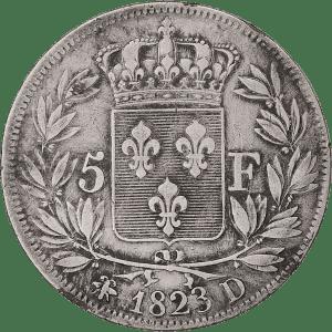 5 Frank Lodewijk XVIII in zilver